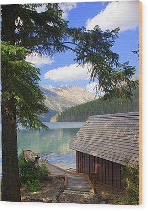 Kintla Lake Ranger Station Glacier National Park Wood Print by Marty Koch