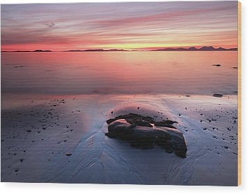 Wood Print featuring the photograph Kintyre Rocky Sunset 5 by Grant Glendinning
