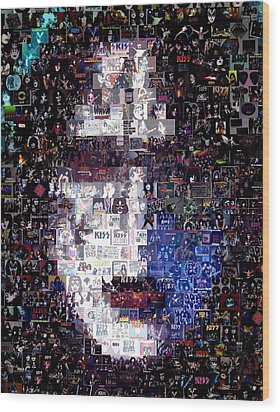 Kiss Ace Frehley Mosaic Wood Print