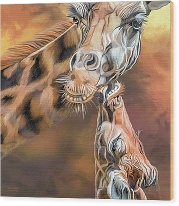 Wood Print featuring the mixed media Kiss For Mama by Carol Cavalaris