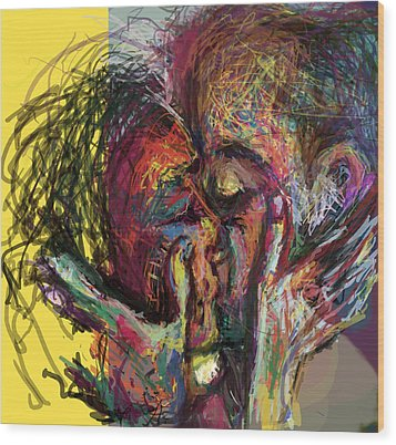 Kiss Me You Big Dick Wood Print by James Thomas