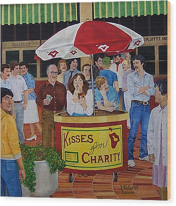 Kisses For Charity Wood Print by Michael Lewis