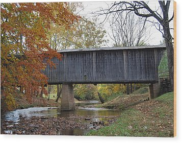 Wood Print featuring the photograph Kissing Bridge At Fall by Eric Liller