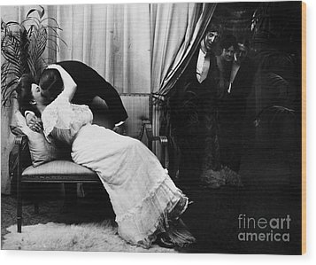 Kissing, C1900 Wood Print by Granger