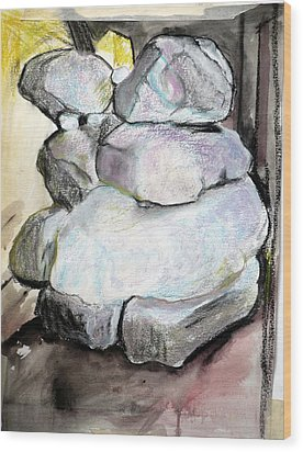 Kissing Rocks Wood Print by Jane Clatworthy
