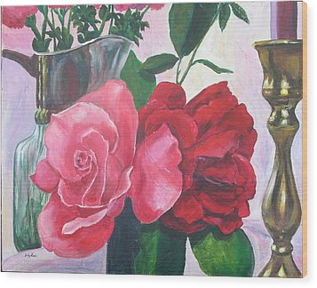 Kissing Roses Wood Print by Judy Loper