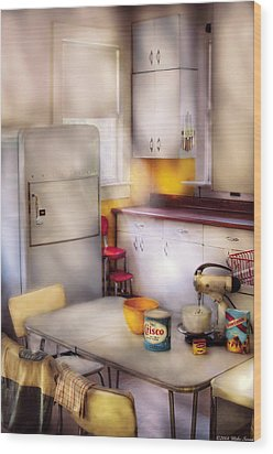 Kitchen - A 1960's Kitchen  Wood Print by Mike Savad