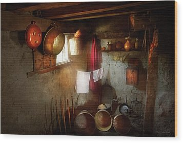 Wood Print featuring the photograph Kitchen - Homesteading Life by Mike Savad