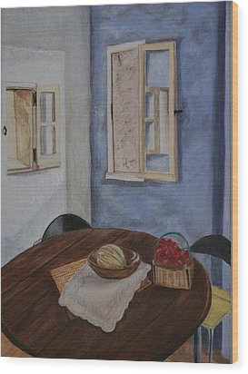 Kitchen In Les Baux Wood Print by Cynthia Ablicki
