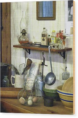 Kitchen With Wire Basket Of Eggs Wood Print by Susan Savad