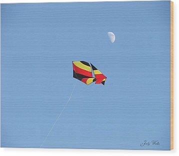 Kite And Moon Wood Print by Judy  Waller