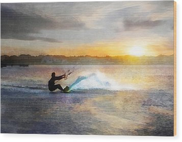 Kite Boarding At Sunset Wood Print by Francesa Miller