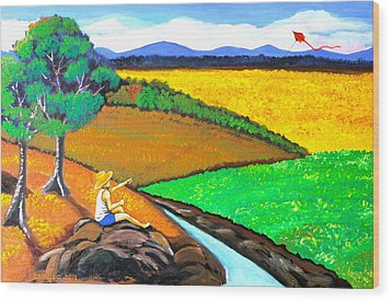 Kite Wood Print by Cyril Maza