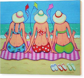 Kite Flying 101 - Girlfriends On Beach Wood Print