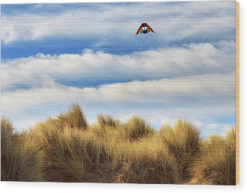 Wood Print featuring the photograph Kite Over The Hill by James Eddy