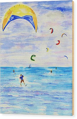 Kite Surfer Wood Print by Jamie Frier