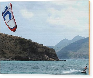 Kite Surfer St Kitts Wood Print
