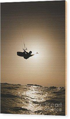 Kitesurfing At Sunset Wood Print by Hagai Nativ