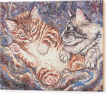 Kittens Sleeping Wood Print by Linda Mears