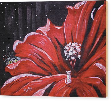 Wood Print featuring the painting Kitty Flower by Phyllis Kaltenbach