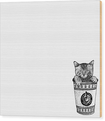 Kitty In A Coffee Cup Wood Print by Karl Addison