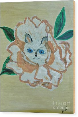 Kitty In The Magnolia Blossom Wood Print by Marie Bulger