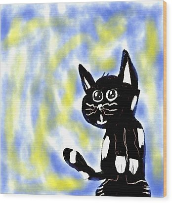 Kitty Kitty Wood Print by Paulo Guimaraes