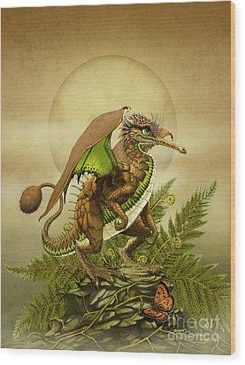 Wood Print featuring the digital art Kiwi Dragon by Stanley Morrison