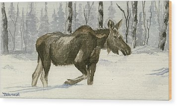 Knee Deep In Snow Wood Print by Tracey Hunnewell