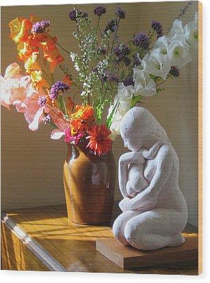 Kneeling Mother And Child Wood Print by Deborah Dendler