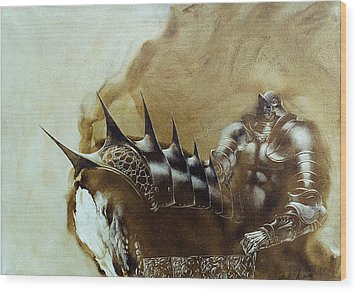 Wood Print featuring the painting Knight 1 by Valeriy Mavlo