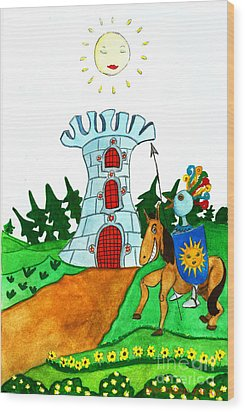 Brave Knight-errant And His Funny Wise Horse Wood Print