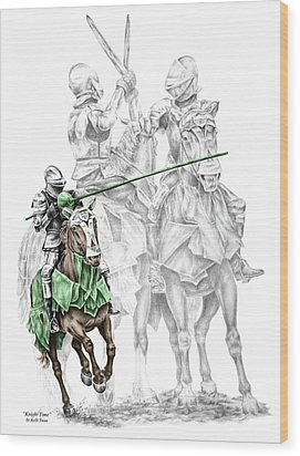 Knight Time - Renaissance Medieval Print Color Tinted Wood Print