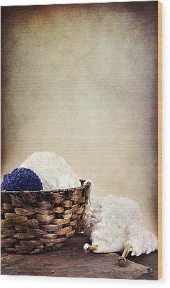 Knitting Supplies Wood Print by Stephanie Frey