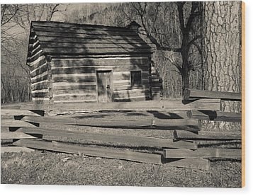 Knob Creek Cabin Wood Print by Mark Bowmer