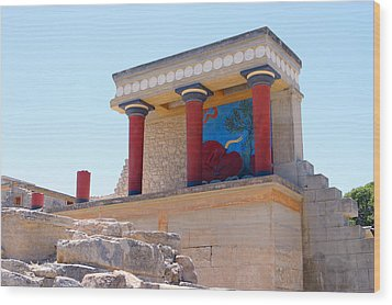 Knossos North Gate View Wood Print by Paul Cowan