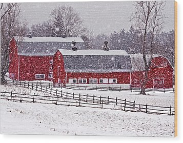 Knox Farm Snowfall Wood Print