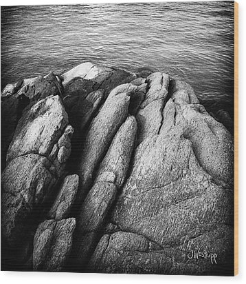 Wood Print featuring the photograph Ko Samet Rocks In Black by Joseph Westrupp