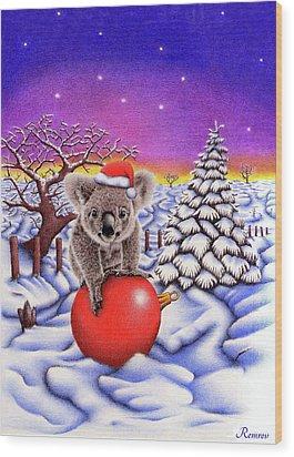 Koala On Christmas Ball Wood Print