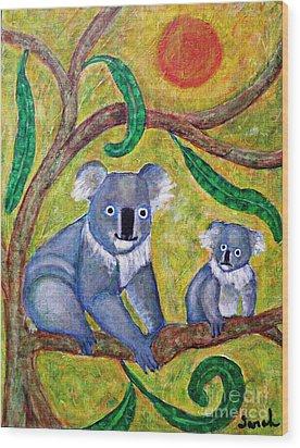 Koala Sunrise Wood Print