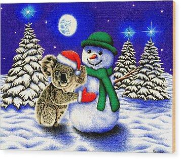 Koala With Snowman Wood Print