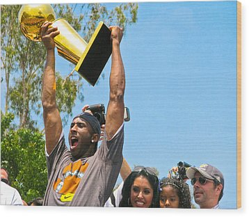 Kobe And The Trophy Wood Print by Carl Jackson