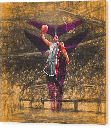 Kobe Bryant Black Mamba Digital Painting Wood Print by David Haskett