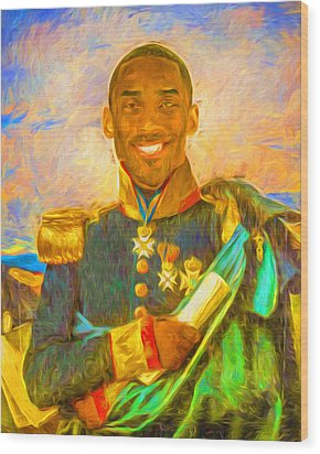 Kobe Bryant Floor General Digital Painting La Lakers Wood Print by David Haskett