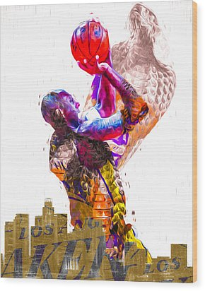 Kobe Bryant Los Angeles Lakers Digital Painting Snake 1 Wood Print by David Haskett