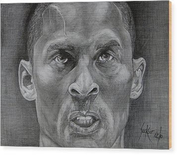 Kobe Bryant Wood Print by Stephen Sookoo