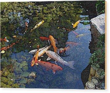 Koi - Dsc00016 Wood Print by Shirley Heyn