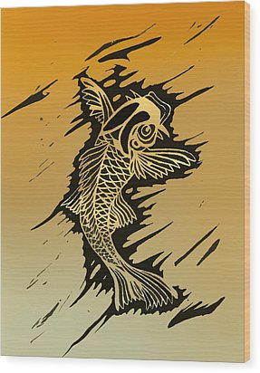Koi 2 Wood Print by Jeff DOttavio