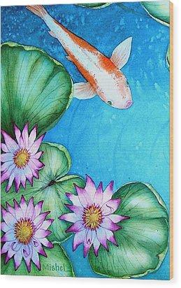 Koi And Lilies Cards And Prints  Wood Print
