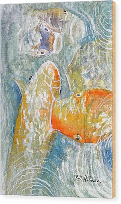 Wood Print featuring the painting Koi Carp Feeding Frenzy by Bill Holkham
